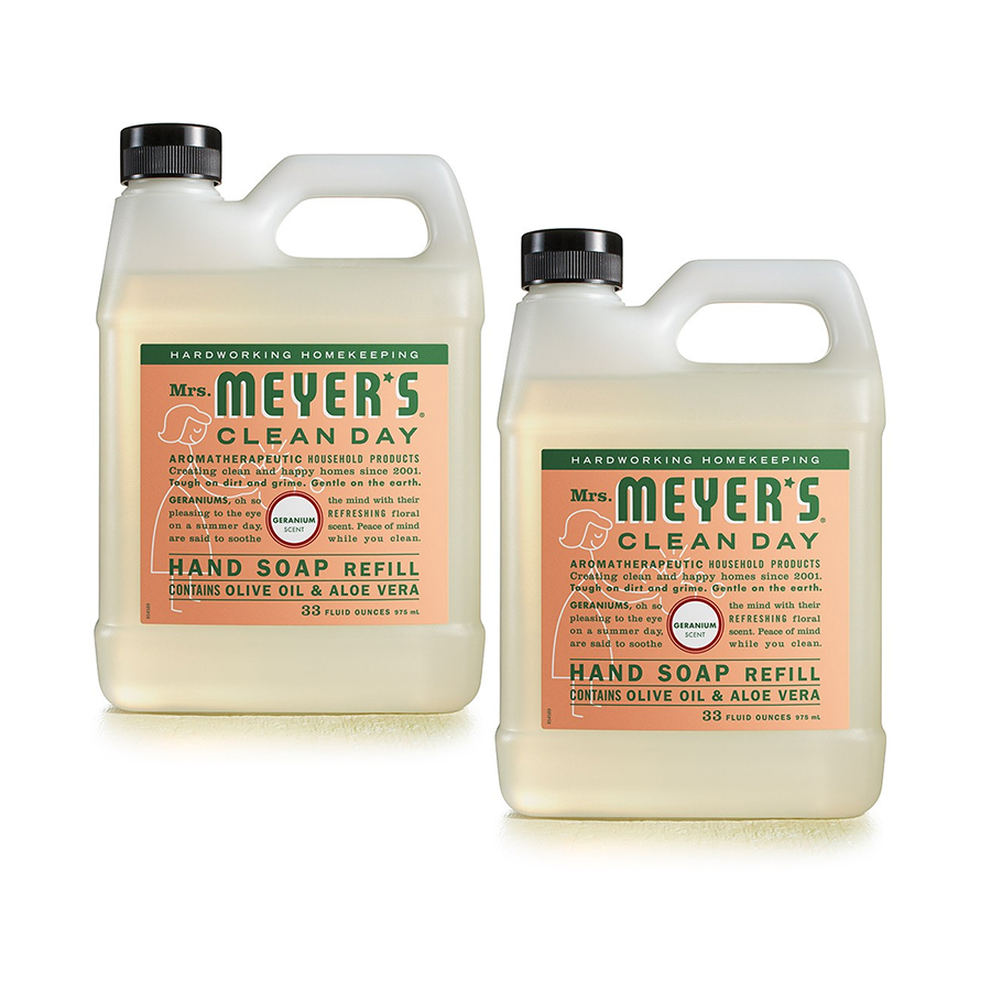 (2 Pack) Mrs. Meyer's Clean Day Liquid Hand Soap Refill, Geranium, 33 fl oz