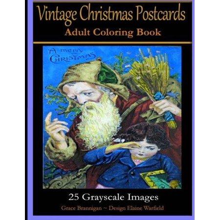 Vintage Christmas Postcard Adult Coloring Book  25 Grayscale Images