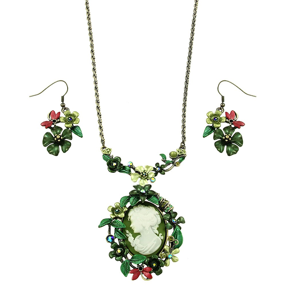 Falari Vintage Cameo Flower Hand Painted Necklace Earring Set