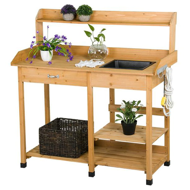 Yaheetech Cedarwood Potting Bench with Removable Sink