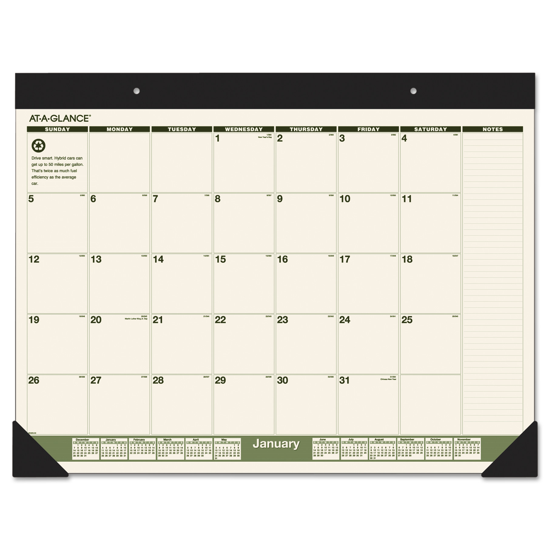 AT-A-GLANCE Recycled Monthly Desk Pad, 22 x 17, 2018