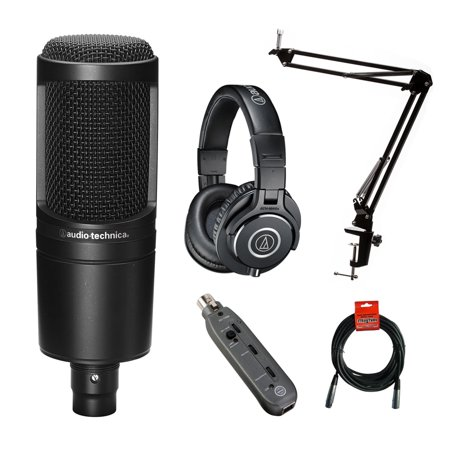 Audio-Technica AT2020 Studio Microphone Kit with Headphones, Boom, Cables, Pop Filter & XLR to USB (Rode Videomic Pro Microphone Studio Boom Kit)