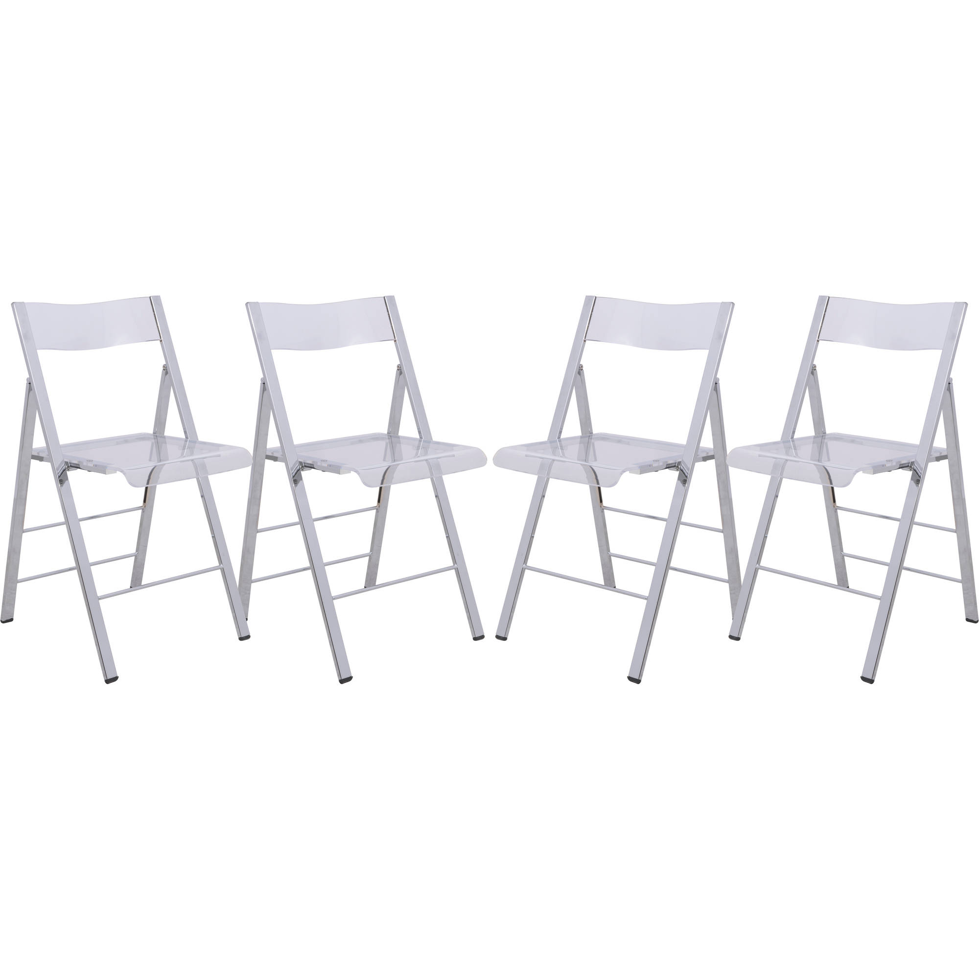 LeisureMod Menno Modern Acrylic Folding Chair in Clear, Set of 4