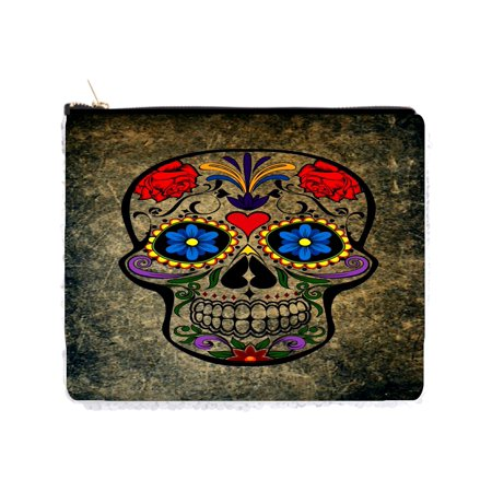 Floral Sugar Skull on Grunge Print Design - Double Sided 6.5