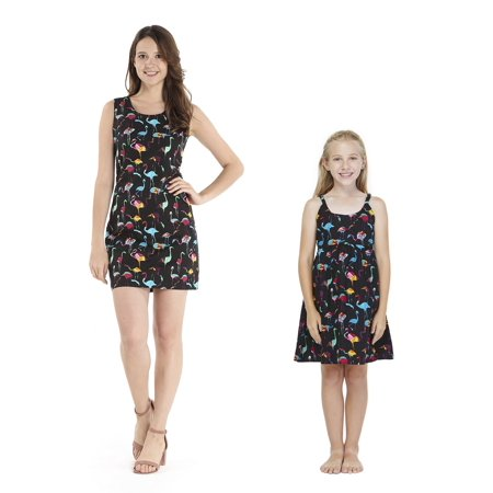 Matching Mother Daughter Hawaiian Luau Outfit Lady Tank Dress Girl Dress Flamingo Party M-2