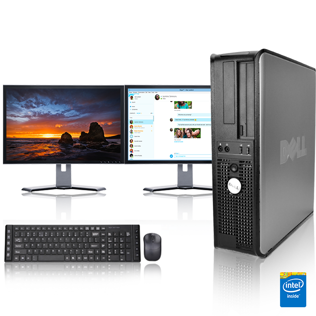 """Dell Optiplex Desktop Computer 3.0 GHz Core 2 Duo Tower PC, 4GB, 500 GB HDD, Windows 10 Home x64, 17"""" Dual Monitor , USB Mouse & Keyboard"""