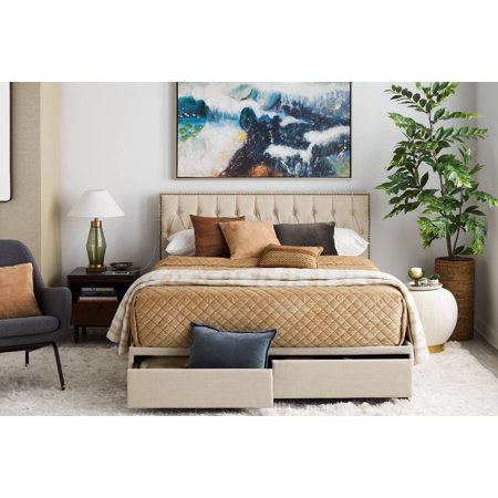 Upholstered Queen Storage Bed with USB and Nail Head Trim