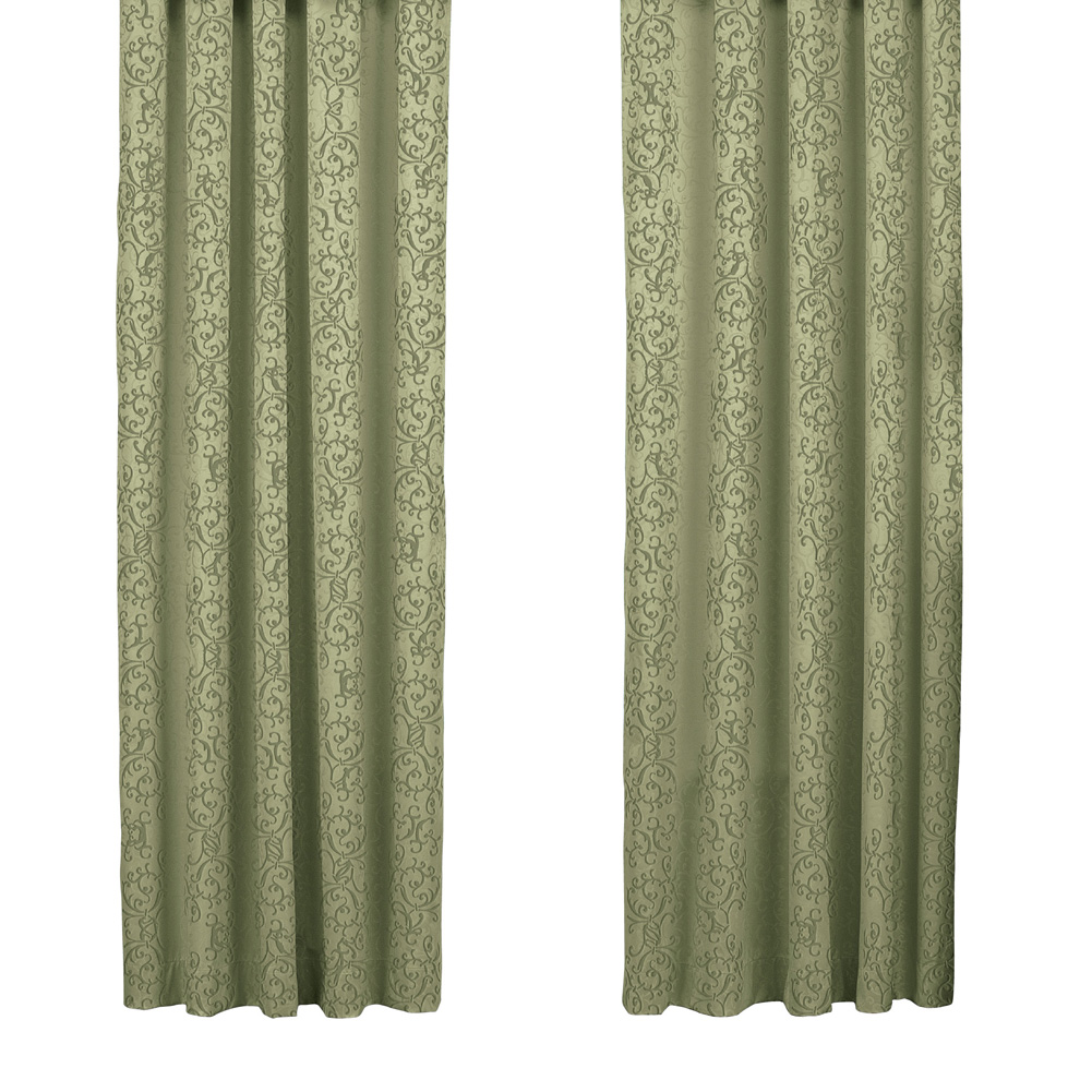"Elegant Insulated Scroll Pattern Window Curtain Panel with Rod Pocket Top, 50"" X 84"", Sage"