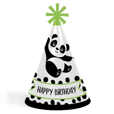 Party Like a Panda Bear - Cone Happy Birthday Party Hats for Kids and Adults - Set of 8 (Standard Size)](Panda Bear Party Supplies)