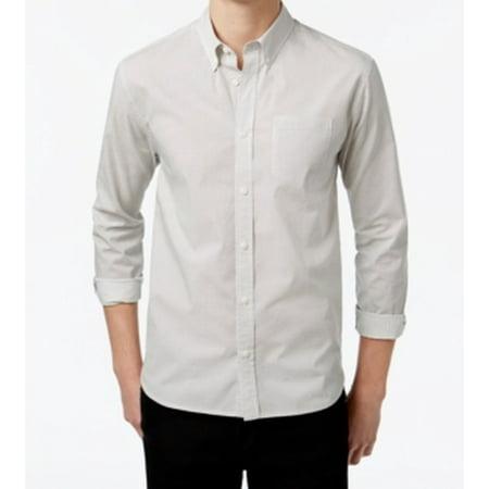 WHT Space NEW White Men Size Medium M Dot Front-Pocket Button Down Shirt (Wht Dot)