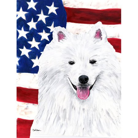 Caroline's Treasures American Flag with American Eskimo 2-Sided Garden Flag