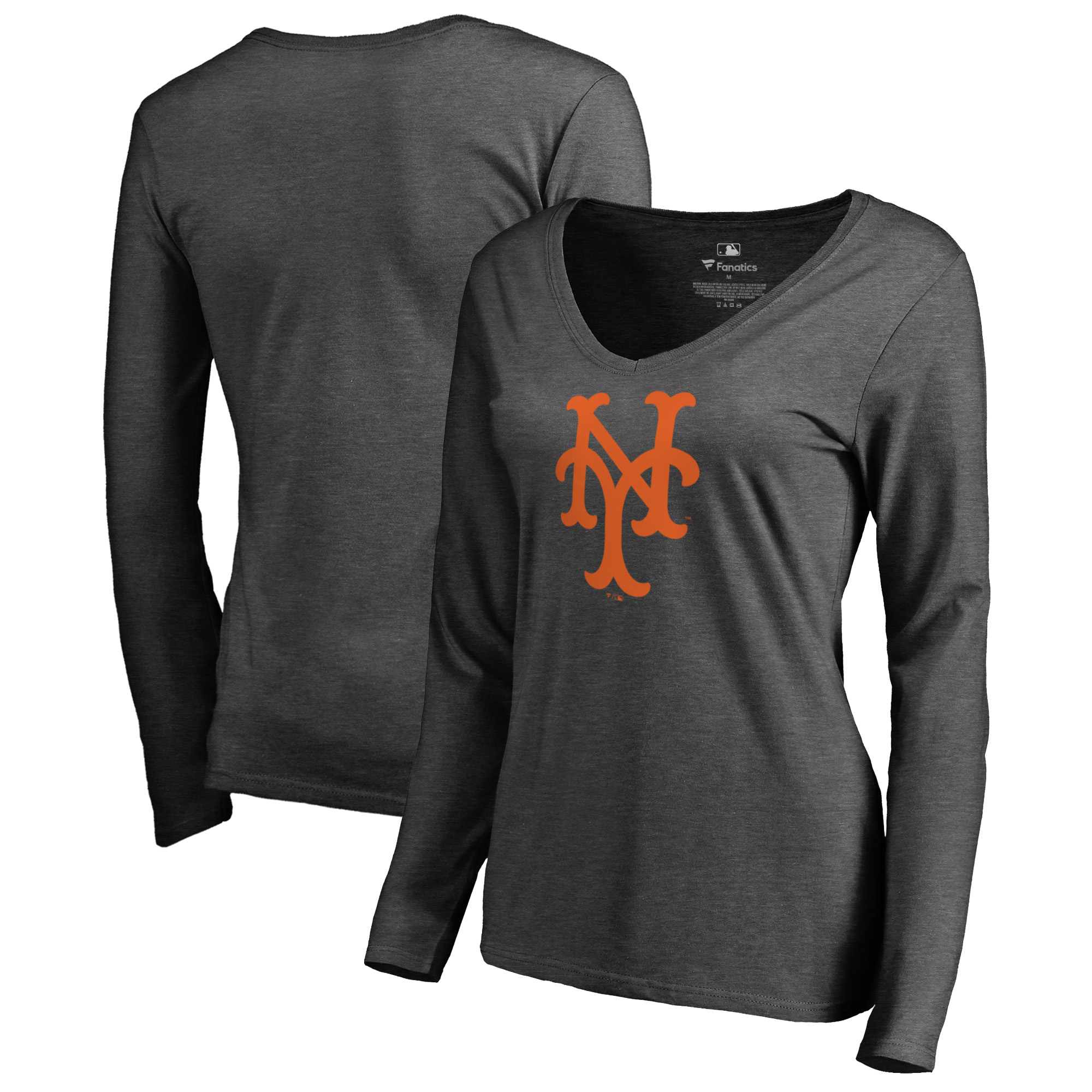 New York Mets Fanatics Branded Women's Cooperstown Collection Huntington Long Sleeve V-Neck T-Shirt - Heathered Gray