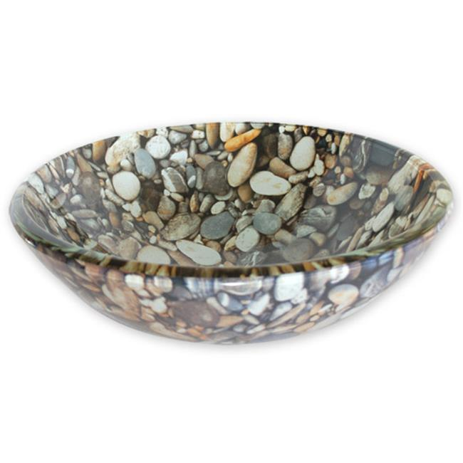 Eden Bath EB-GS24 Natural Pebble Pattern Glass Vessel Sink