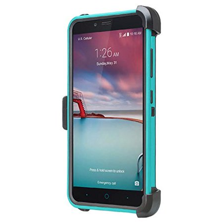 ZTE ZMAX One (Z719DL) Case ZTE Grand X4, ZTE Blade Spark Z971 Case [Military Strength Holster Combo] Heavy Duty Belt Clip Holster, Rugged Dual Layer Drop Protection for ZTE Grand X4/Blade Spark - Teal - image 1 de 4