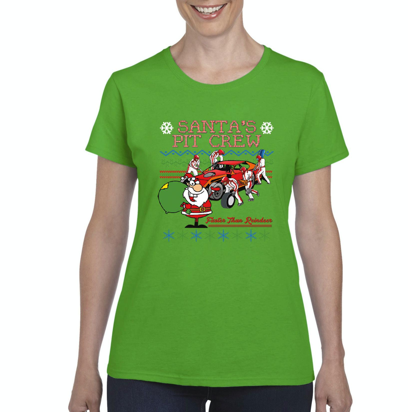 Christmas T-Shirt Santa'S Pit Crew  Womens Shirts