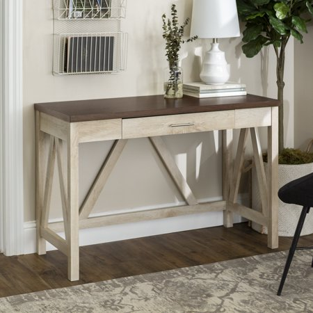 Manor Park Rustic Farmhouse Computer Writing Desk with Drawer - Brown / White Oak ()