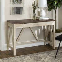 Manor Park Rustic Farmhouse Computer Writing Desk with Drawer - Brown / White Oak