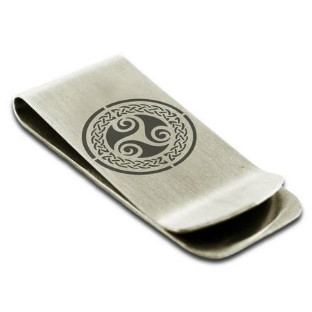 Stainless Steel Celtic Triskele Triskelion Triple Knot Engraved Money Clip Credit Card Holder (Celtic Money Clip)