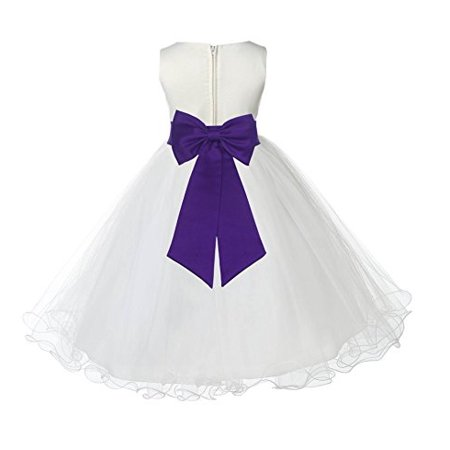 Ekidsbridal Ivory Tulle Rattail Edge Formal Toddler Flower Girl Dresses Special Occasion Dresses Wedding Tulle Dresses Pageant Dresses Junior Bridesmaid Dresses Easter Summer Dresses Ball Gown 829T (Tulle Ivory Flower Girl Dresses)