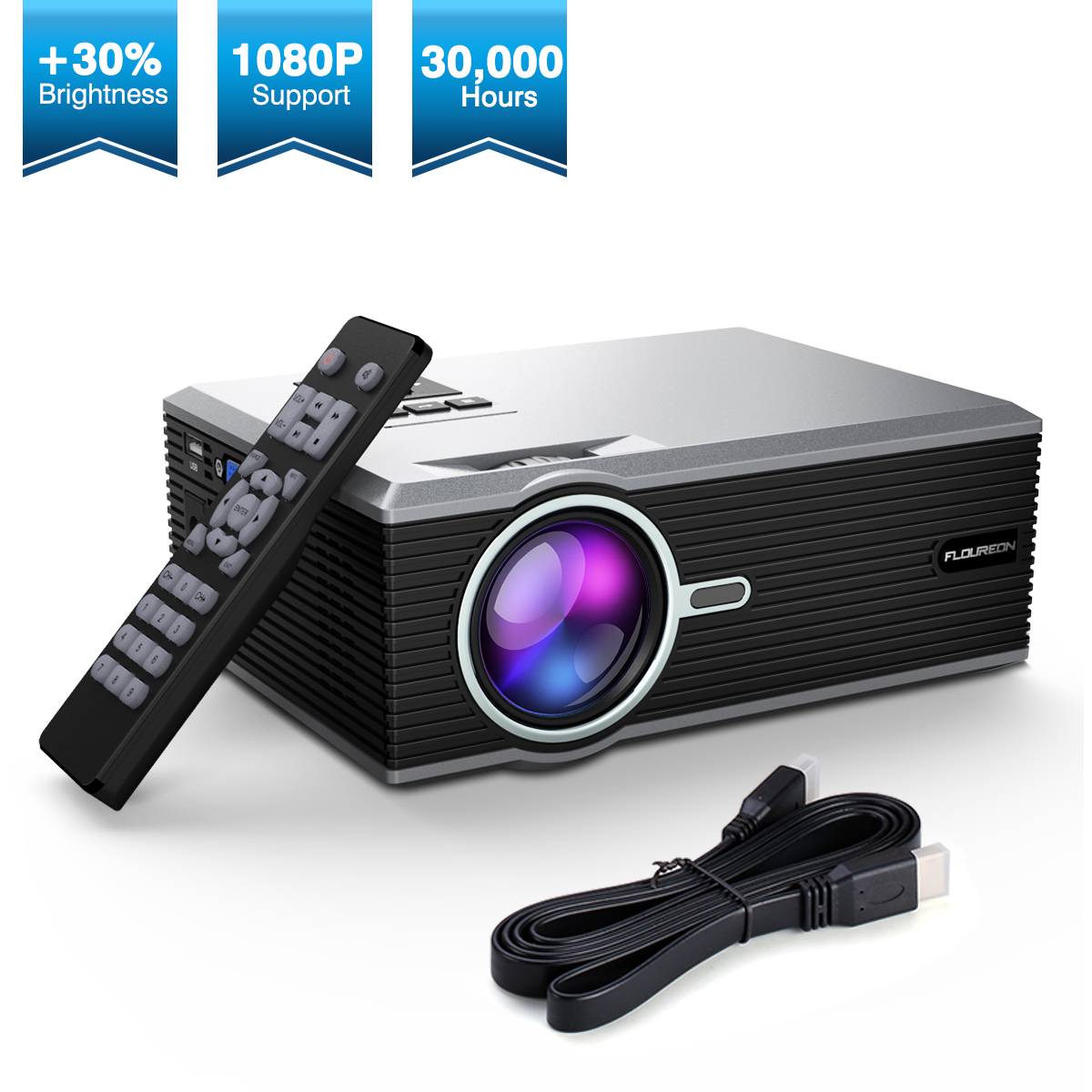 FLOUREON Portable Video LCD Projector 30% Upgraded Brightness Support HD 1080P For Home Outdoor Entertainment Connect With Phone DVD Player PS4 PC XBOX Amazon Fire TV Stick SD HDMI Cable Available