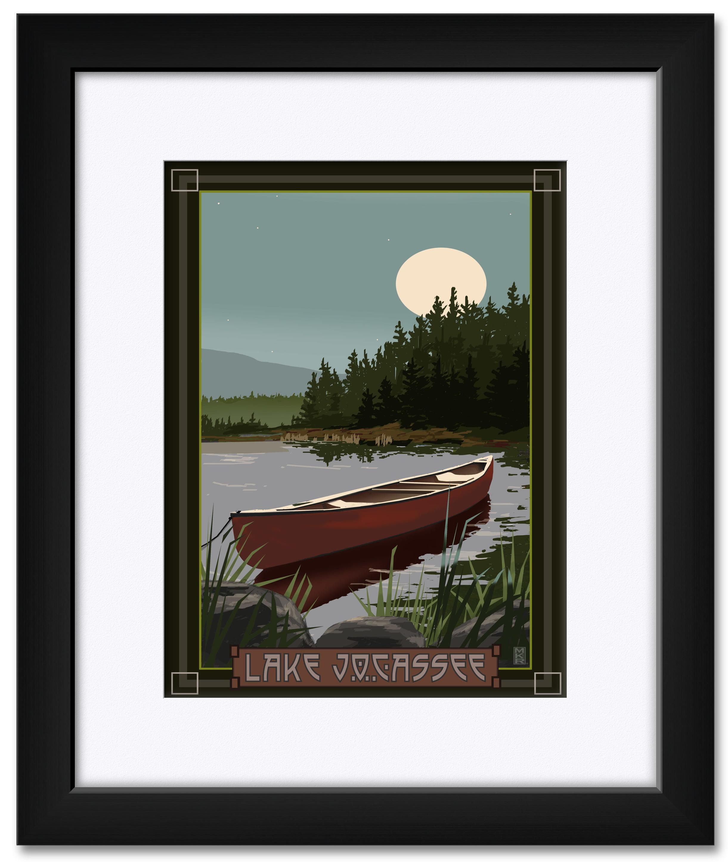 Lake Jocassee South Carolina Canoe In Moonlight Framed Matted Art