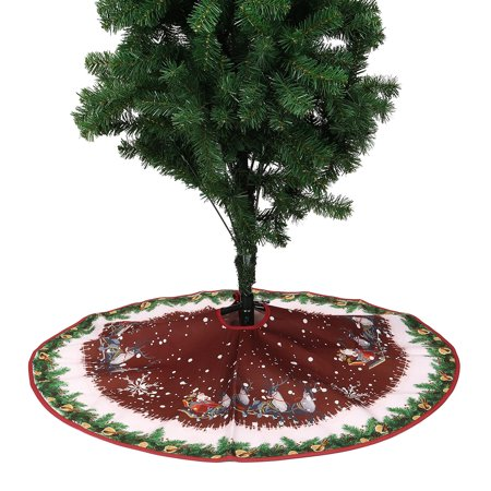 35.43'' Elk Sleigh Pattern Round Christmas Tree Skirt Base Floor Mat Cover Decoration - Floor Decorations
