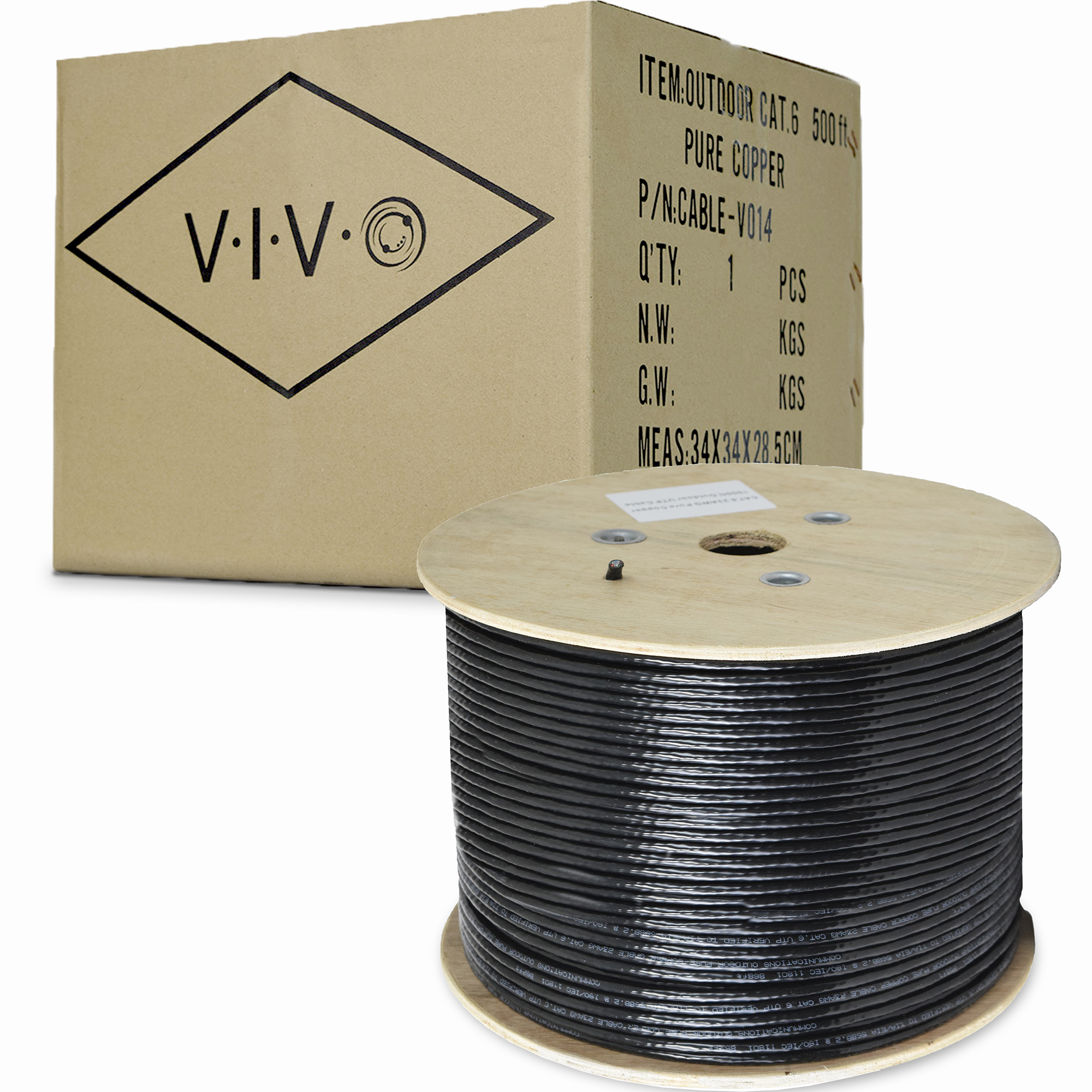 VIVO Black 500ft Cat6 Pure Copper 23 AWG LAN Cable Wire Cat-6 500 ft Waterproof Outdoor Burial (CABLE-V014)