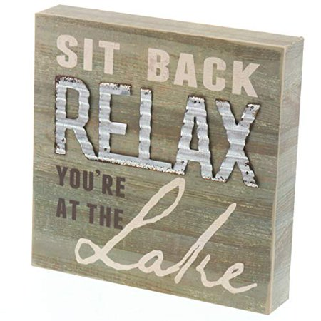 Barnyard Designs Sit Back and Relax You're at The Lake Box Sign Decorative Rustic Wood Lake House Cabin Home Wall Decor 8
