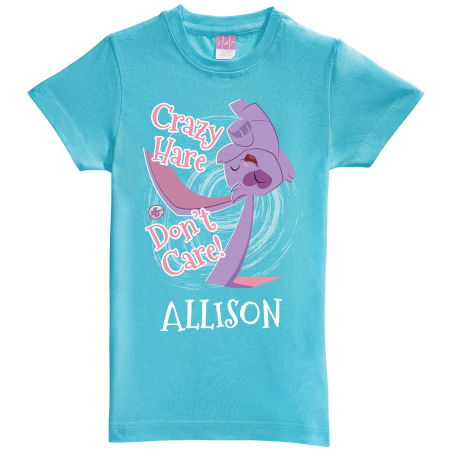 Personalized Animal Jam Crazy Hare Don't Care Toddler Girl Aqua Fitted Tee