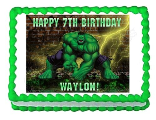 INCREDIBLE HULK party decoration edible cake image topper frosting