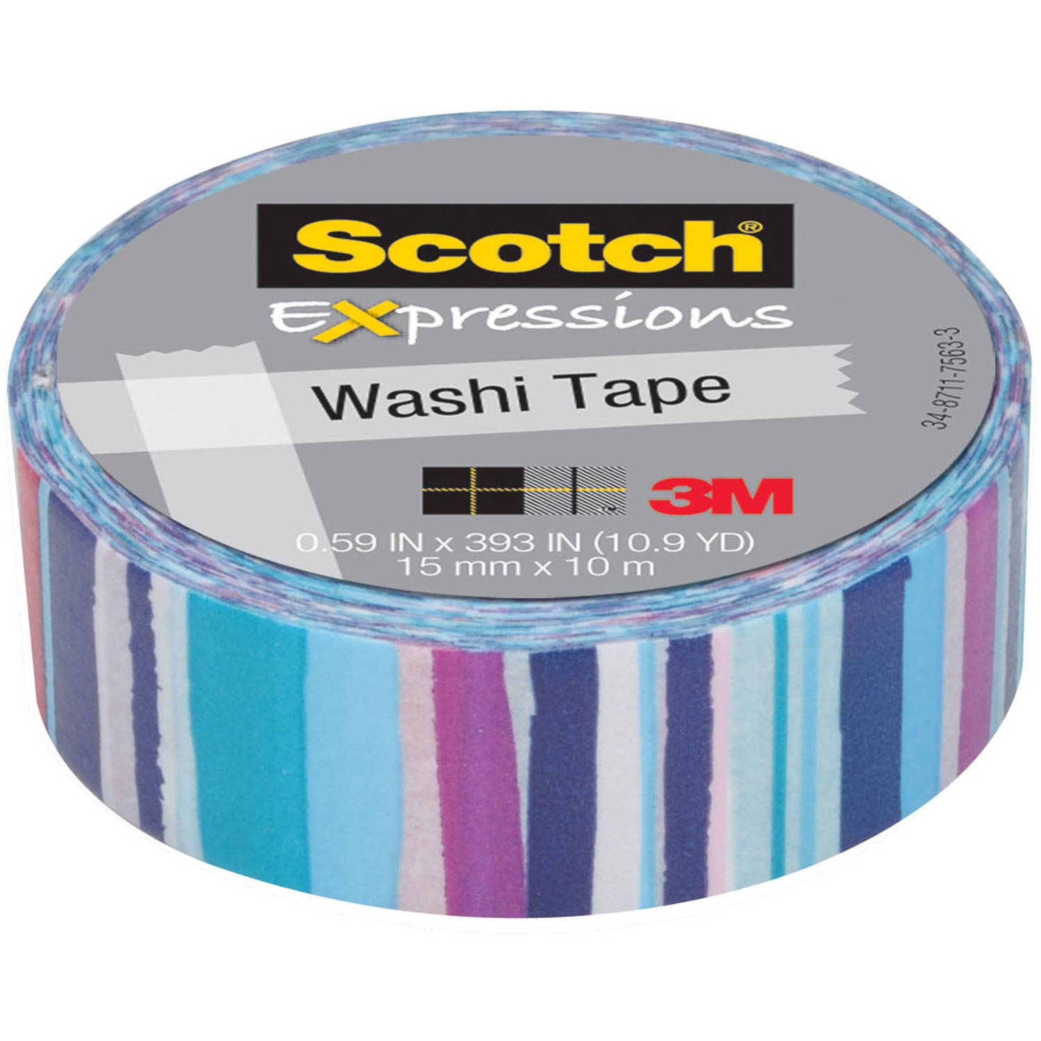 "Scotch Expressions Washi Tape, .59"" x 393"", Watercolor Stripe"