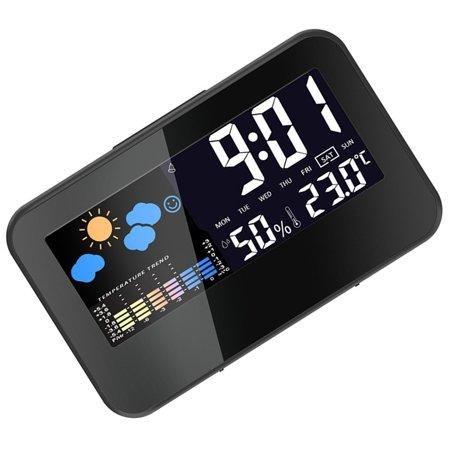 fashionhome Electric Desktop Clock Alarm Colorful LCD Screen Sound Control Backlight Digital Clock Date Time Calendar Desk Watch - image 7 of 8