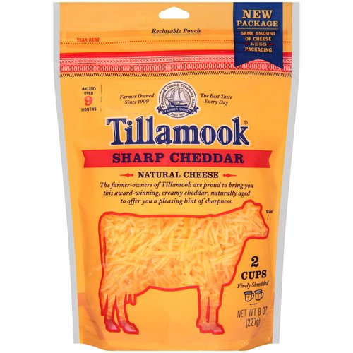 Tillamook Sharp Cheddar Shredded Cheese, 8 oz