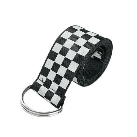 Womens Checkerboard - Taykoo women Belt Black White Checkerboard Plaid Long Canvas Belt Waistband
