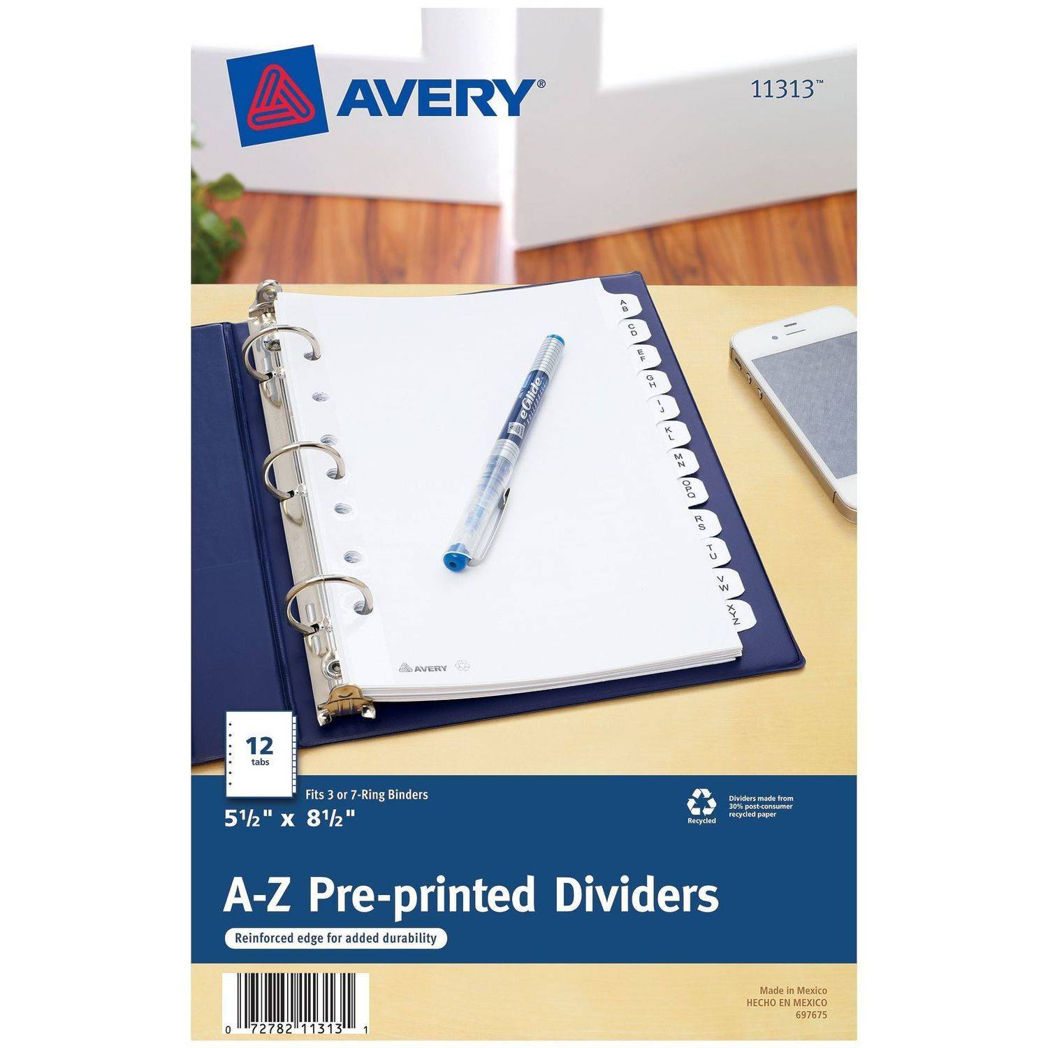 """Avery Mini Pre-printed Dividers with A-Z Tabs 11313, 5-1/2"""" x 8-1/2"""", 12-Tab Set, White"""