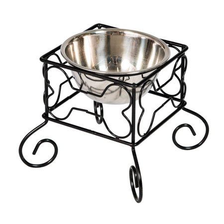 Good Life Raised Dog Cat Pet Feeder Bowl with Stable Iron Stand and Elevated Stainless Steel Dish Elevated Large Dog Feeder