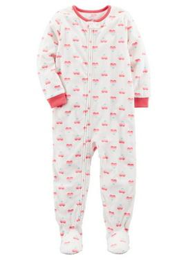 Carter's Little Girls' 1 Piece Heart Fleece Pajamas, 2-Toddler