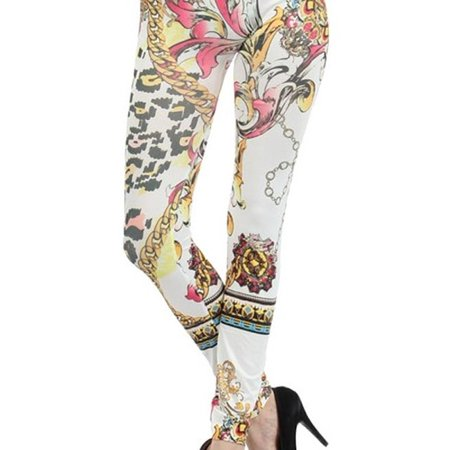 HoneyComfy  Women's Punx with Chainlinks and Leopard Polyester Blend Printed Seamless Fashion Leggings - Leopard Leggings