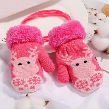 KABOER Baby Kids Child Mittens Knit Gloves Elk Thick Winter Warm Cartoon String Glove
