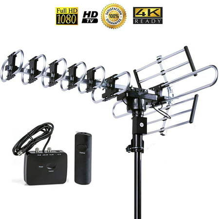 Five Star Outdoor 4K HDTV Antenna Long Range Auto Gain Control Long Range with Motorized 360 Degree Rotation, UHF/VHF/FM Radio with Infrared Remote Control for 2 TVs
