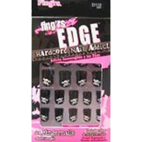 Pacific World 904306 Fingrs Nails - Edge Glue On Blackwith Skulls -  Case of 24