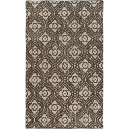 3.25 x 5.25' Egyptian Bloom Chocolate Brown and Beige Area Throw Rug ()
