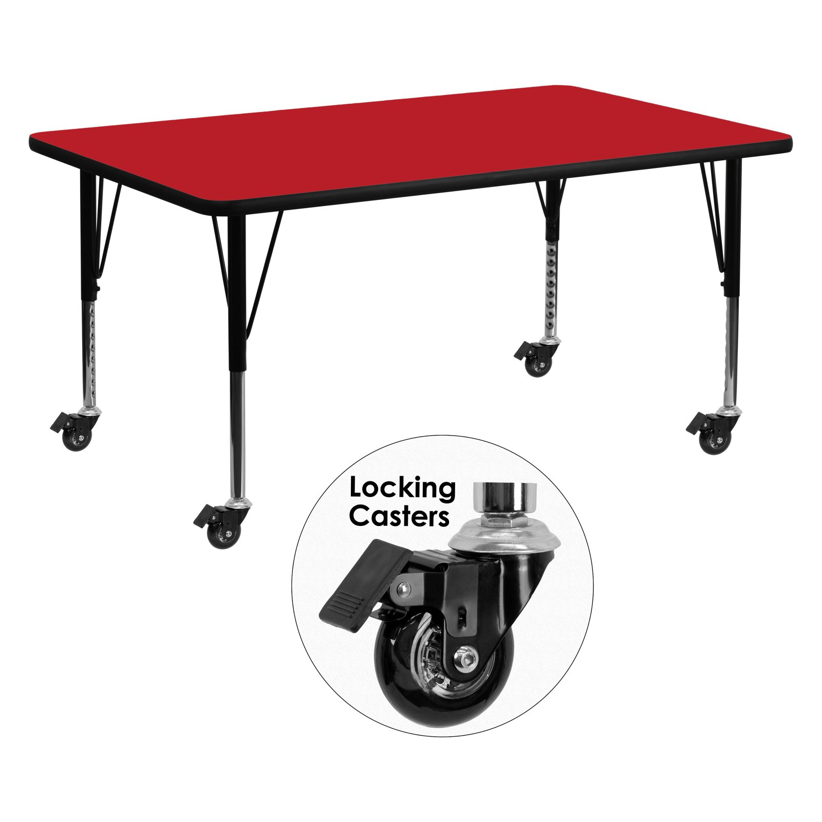 Flash Furniture Mobile 24''W x 60''L Rectangular Activity Table with 1.25'' Thick High Pressure Red Laminate Top and Height Adjustable Preschool Legs
