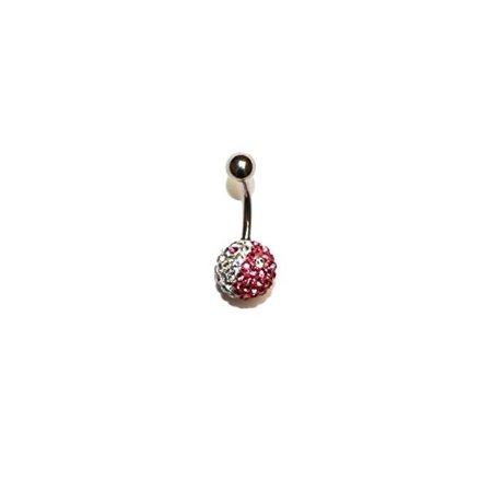 Hypoallergenic Surgical Steel Crystal Bedazzled Ball Belly Ring (Dark Pink & White) - Bedazzled Jewels