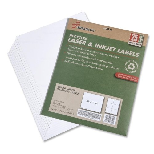 """Skilcraft 7530-01-578-9295 Extra Large Shipping Label - 3.33"""" Width X 4"""" Length - 25 / Pack - Rectangle - 6/sheet - Laser, Inkjet - Bright White (NSN5789295)"""
