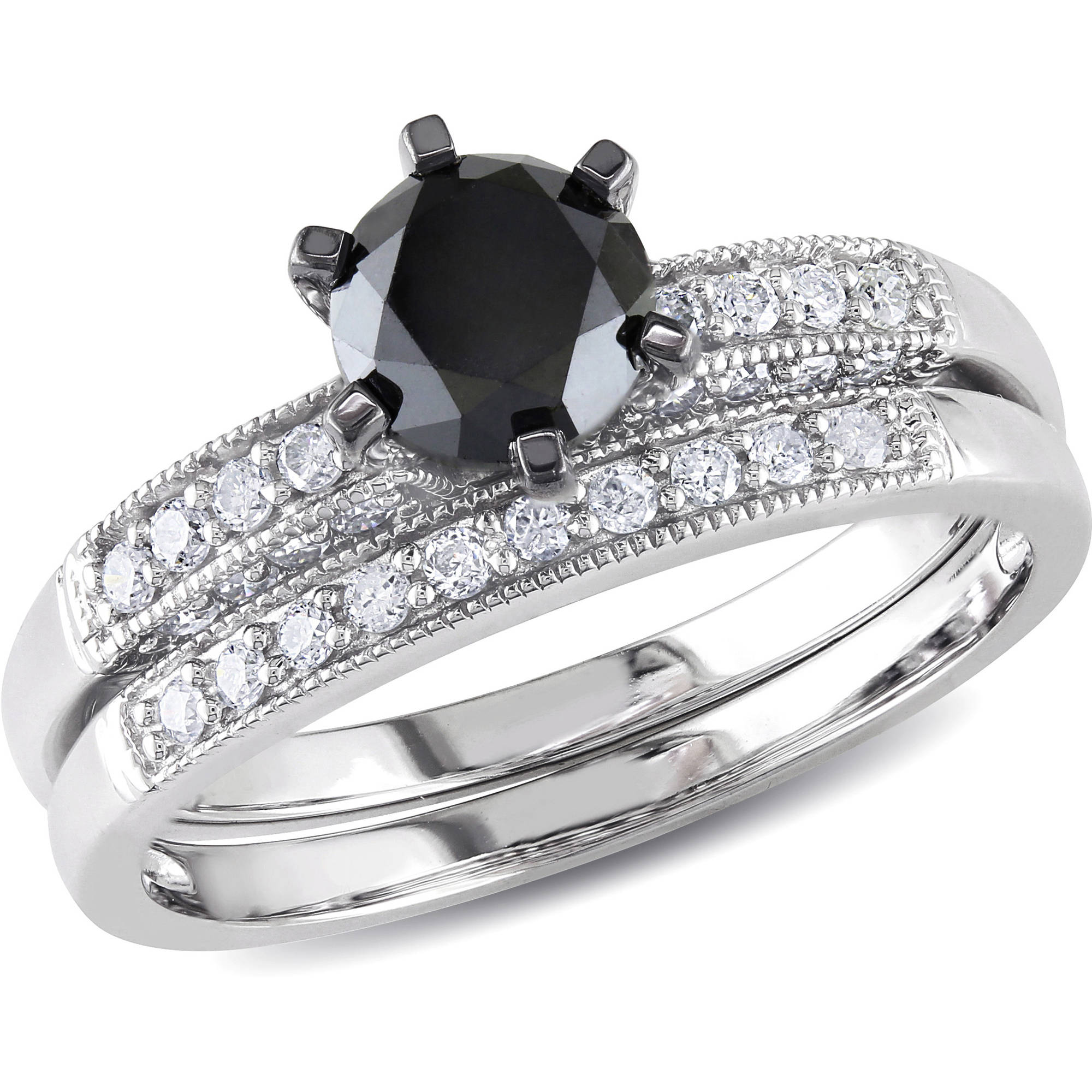 1-1/3 Carat T.W. Black and White Diamond 10kt White Gold Bridal Set