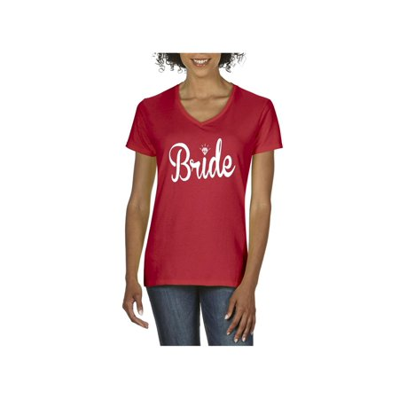 Bride with Diamond Women V-Neck T-Shirt