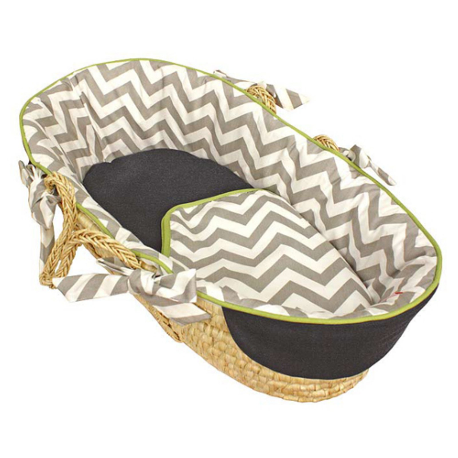 Hoohobbers Chevron Grey & Navy with Lime Moses Basket - Tailored