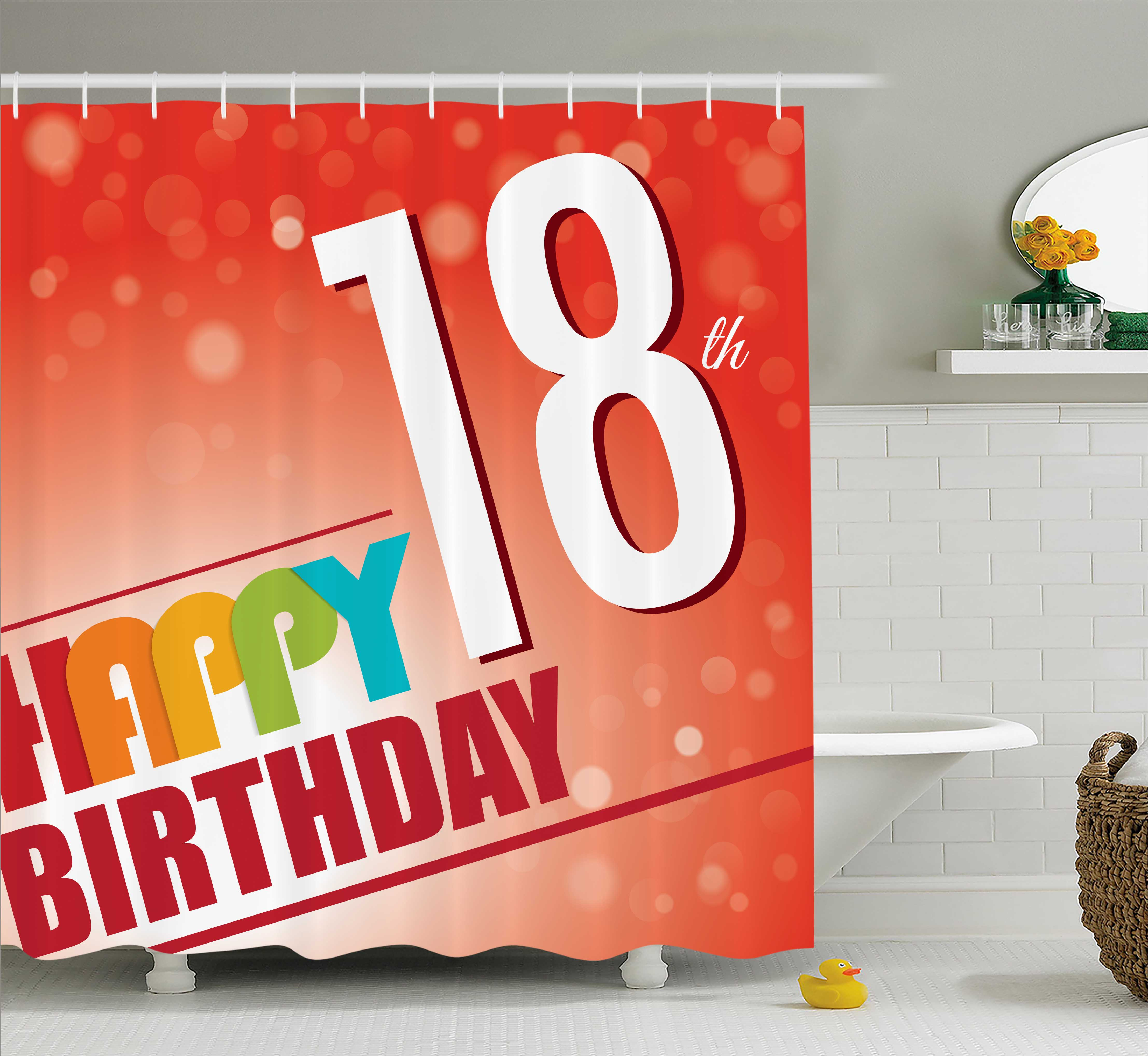 18th Birthday Shower Curtain, Abstract Sun Beams Backdrop with Colorful Birthday Party Art Print, Fabric Bathroom Set with Hooks, 69W X 75L Inches Long, Vermilion and Red, by Ambesonne