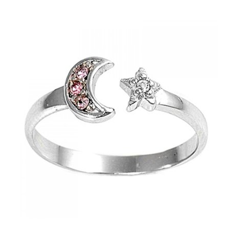925 Sterling Silver Star And Moon Toe Ring